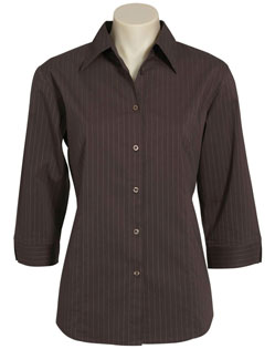 LB8425 – Ladies 3/4 Sleeve Manhattan Stretch Stripe Shirt