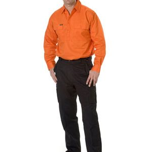 BISELY Gusset Cuff Cargo Drill Shirt Long Sleeve