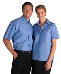 Sh-113- Mens Short Sleeve Wrinkle Free Chambray Shirt